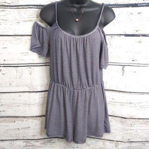 One Clothing/ Black white stripe romper/ Medium